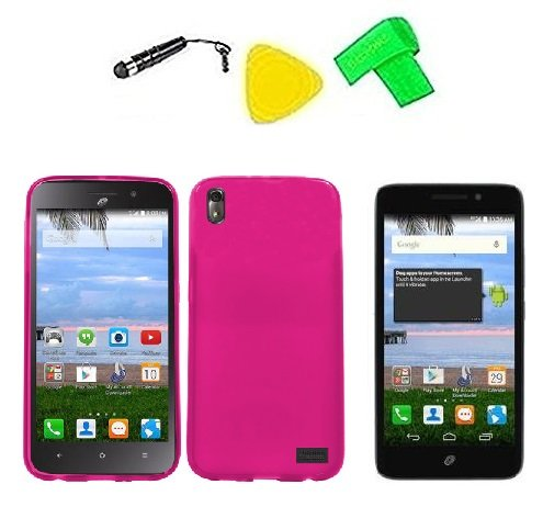 (TPU Flexible Skin Phone Cover Case Cell Phone Accessory + Extreme Band + Stylus Pen + LCD Screen Protector Guard + Yellow Pry Tool For Straight Talk Tracfone NET10 Huawei Pronto LTE H891L / Huawei Ascend SnapTo G620-A2 LTE (Frost Pink))