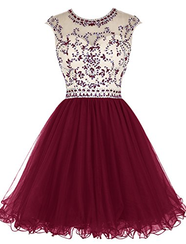 Tideclothes Short Beading Prom Dress Tulle Evening Dress Hollow Back Dark Red US6 (Where To Buy Red Contacts)