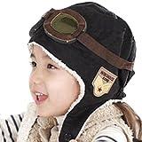 Happy Will Pilot Aviator Fleece Warm Hat Cap with Earmuffs for Kids with Stylus (Black)