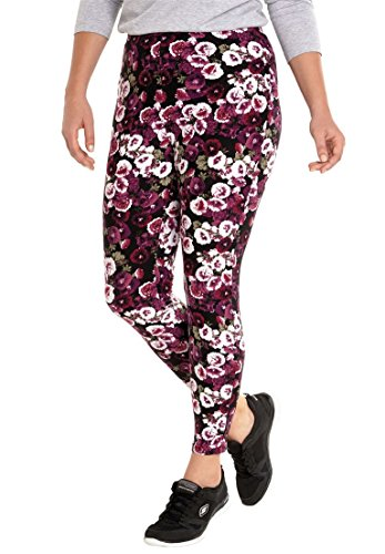 Woman Within Women's Plus Size Cozy Legging Boysenberry Floral,1X