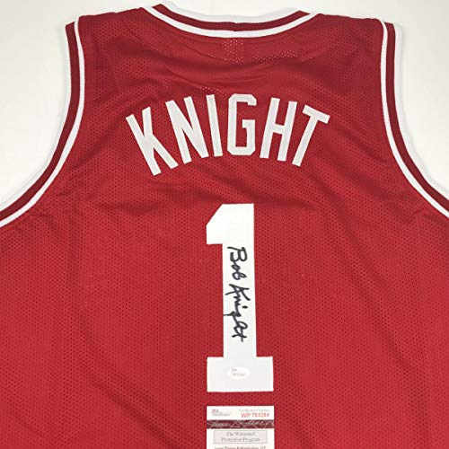 Autographed/Signed Bobby Bob Knight Indiana Hoosiers Red Basketball Jersey JSA COA