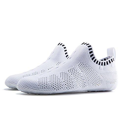 ONEMIX Herren Damen Sneakers leichte atmungsaktive Outdoor Wanderschuhe sockenähnliche Turnschuhe C-Weiß / Schwarz