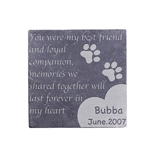 Personalized Memorial Pet Headstone Customized - Best Friend - 6 x 6 Negro Marquina Marble