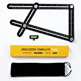 Brightown Multi Angle Measuring Ruler Universal Angularizer Ruler - Full Metal Aluminum Alloy Multi Function Ruler with Extra Line Level Great For Handymen, Builders, Carpenters,Tilers,DIY-ers (Black)