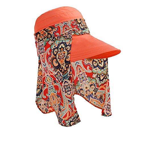 (Respctful ✿ Sun Hat for Women Boho Floral Uv Protection Foldable Brim Bucket Hat Beach Fishing Hat Summer Beach Sun Hat Orange)