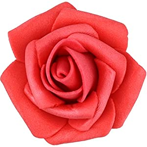 Lightingsky 300pcs 1.7 inch Real Touch Artificial Rose Head, DIY 3D Artificial Flowers for Wedding Bouquets, Room Decoration (Red) 4