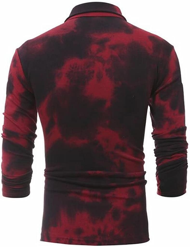 OTW Mens Casual Tie-dyed Lapel Long Sleeve Slim Fit T Shirts