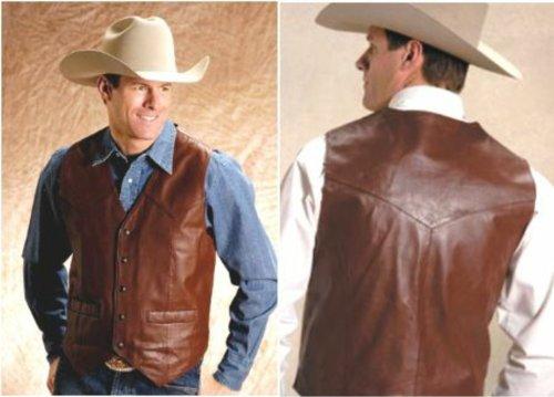 Roper Men's Saddle Western Vest Brown Outerwear
