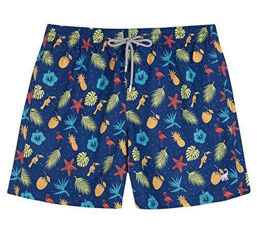 (SURF CUZ Men's Floral Print Quick Dry Swim Trunk (Navy - Animal, Small))