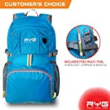 Raise Your Game RYG Packable Lightweight Travel Backpack, Large Foldable Water Resistant Hiking Daypack, Universal Portable Traveling Bag for Men and Women (Glacier Blue)