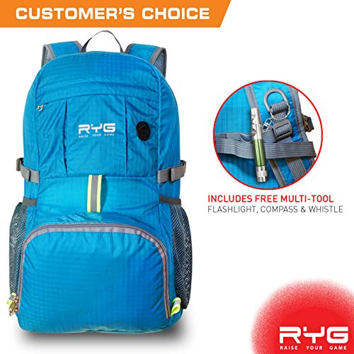Cheap Raise Your Game RYG Packable Lightweight Travel Backpack, Large Foldable Water Resistant Hiking Daypack, Universal Portable Traveling Bag for Men and Women (Glacier Blue)