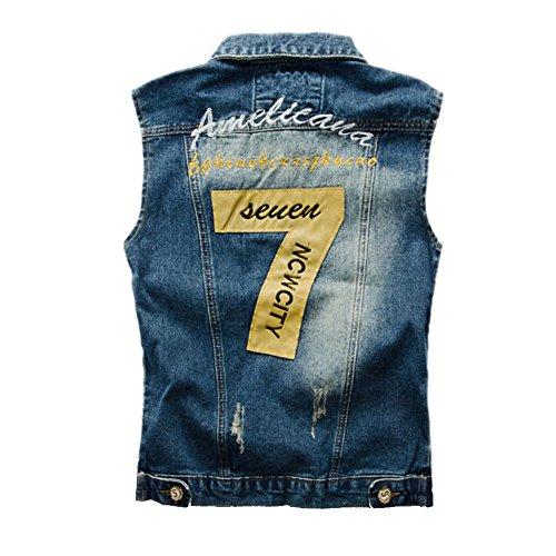Blue Sans Poches Denim Manches Hommes Outwear Gilet Gilet Slim Destoryed Casual Veste Cowboy GAOLIXIA Claasic Jeans Gilet Xaq08F