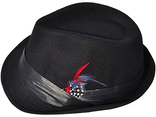 Simplicity Unisex Structured Gangster Trilby Wool Fedora Hat, 3076_Black/Red (Red And Black Fedora Hat)