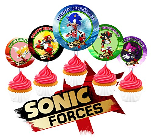 12 Sonic Forces Birthday Inspired Party Picks, Cupcake Picks, Cupcake Toppers #1 ()