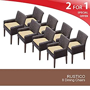 TKC Venice Wicker Patio Arm Dining Chairs in Sesame (Set of 8)