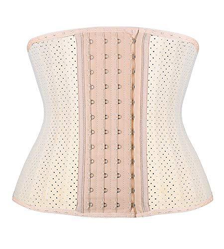 SHAPERX Waist Trainer for Women Weight Loss – Breathable Short Torso 25 Steel Boned Latex Waist Cincher Corset Slimming…