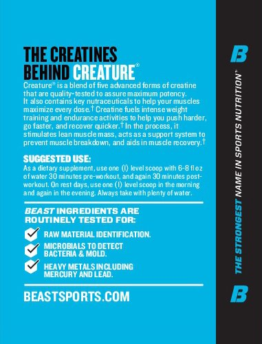 Beast Sports Creature Creatine Complex 5 High Quality Forms of Creatine including Creatine Monohydrate. Build Muscle Fast. 2 Time Creatine Supplement of the Year. 300 Gms*, 60 Servings, Citrus