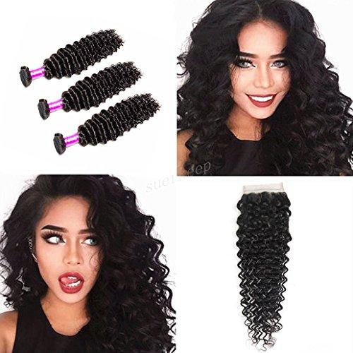 (Suerkeep Deep Wave 3 Bundles With Closure 8A Virgin Human Hair Bundles With Free Part Lace Closure Deals (16 18 20+14,Natural Color))