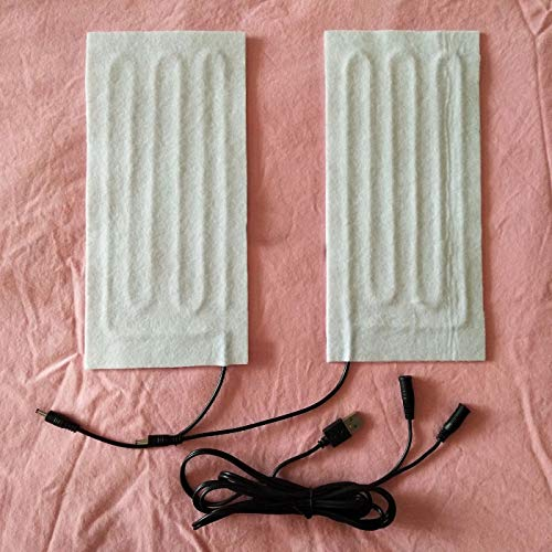 MZS Tec One Pair 5V USB Heated Pad Carbon Fiber Pads Electric Heated Insoles Winter Warm Arm Hands Waist Heated Gloves (White)