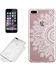 Clear Case for iPhone 7 Plus/iPhone 8 Plus with Screen Protector,QFFUN Ultra Thin Slim Fit Soft Transparent Silicone Phone Case Crystal TPU Bumper Shell Scratch Resistant Protective Cover - Sunflower