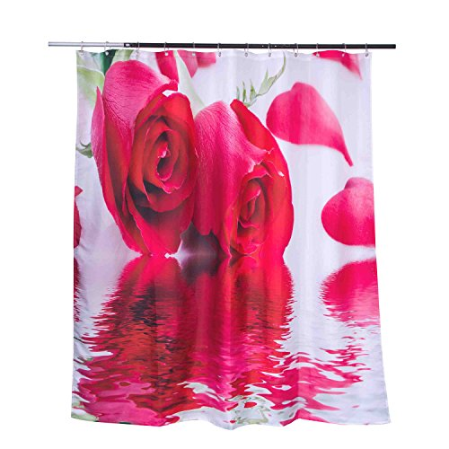 Lebather Two Beautiful Red Roses in Water Print Polyester...