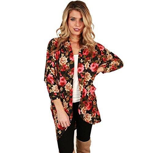 KK-more Women's Kimono Cover Up-Floral Print Oversize Maxi Loose Kimono Cardigan