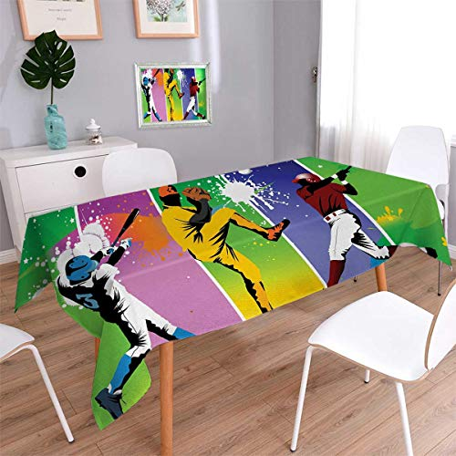 Anmaseven Baseball Oblong Washable Tablecloth Players in Different Positions in Playground Action Catcher Pitcher Modern Sports Waterproof Tablecloths Multicolor Size: W54 x L72