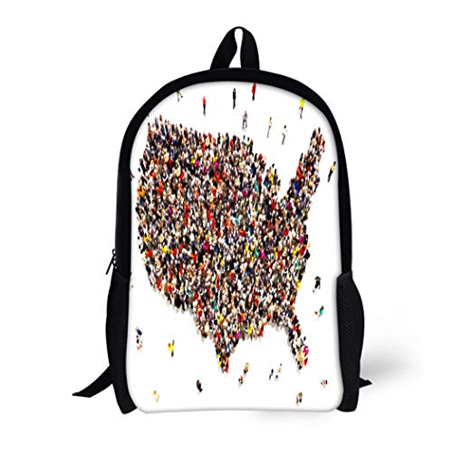 Embassy Brown Bag (Pinbeam Backpack Travel Daypack People Coming to America Large Group of Forming Waterproof School Bag)