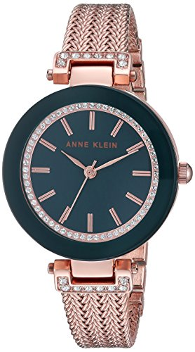 Anne Klein Women's Swarovski Crystal Accented Rose Gold-Tone Mesh Bracelet (Casual Ladies Watch)