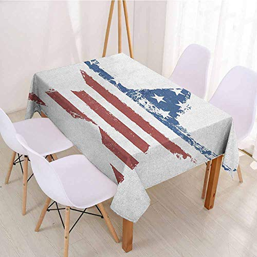 """ScottDecor Christmas Tablecloth Table Cover W 52"""" x L 70"""" Grunge,The American Flag Print as Star Shaped Symbol Stripes National Emblem Illustration, Navy Brown"""