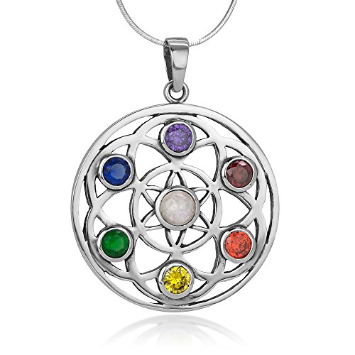 925 Sterling Silver Seven (7) Chakra Filigree Flower of Life Mandala Pendant Necklace, 18