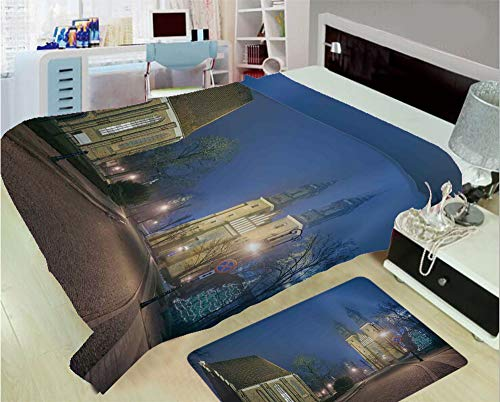 nket Custom Design Floor Mat Carpet Rug,Age Churches Cathedral Island with Night Lights,Well Keep Warm with Supersoft Hand Feeling,add a lot of Color to Your Life ()