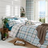 Catherine Lansfield Kelso Rideaux, Blanc, bleu canard, Couette double