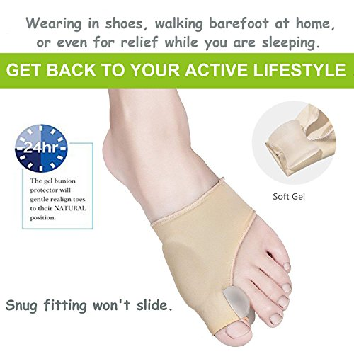 Bunion Corrector and Bunion Care Kit for Tailors Bunion, Hallux Valgus, Big Toe Joint, Hammer Toe, Toe Separators Spacers Straighteners Splint,Toe Straightener, Broken Toe Wraps (Beige) by Askilt (Image #1)