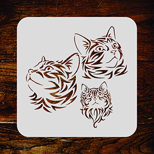 Cat Family Stencil - 10 x 10 inch (M) - Reusable Pet Animal Kitten Mural Wall Stencil Template - Use on Paper Projects Scrapbook Journal Walls Floors Fabric Furniture Glass Wood etc. Decor African Animal Accent Murals