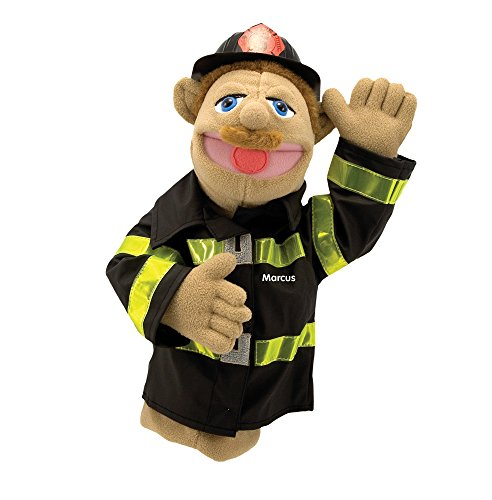 Fireman Hand Puppet - Melissa & Doug Personalized Firefighter Puppet with Detachable Wooden Rod