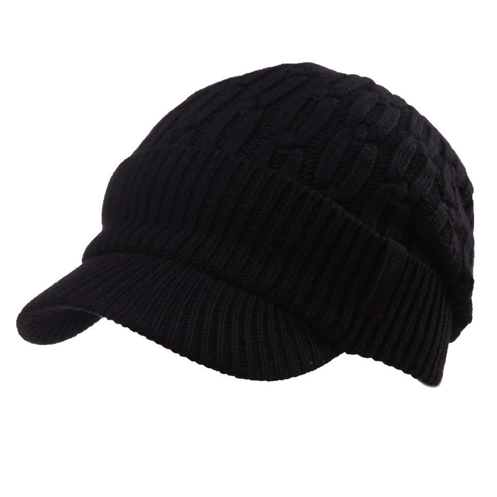 dbe46b748ecb4 SIGGI 37% Wool Knit Visor Beanie Mens Winter Hat Brim Cuff Newsboy Jeep Cap  Cold Weather Hat Fleece Lined Black at Amazon Men s Clothing store