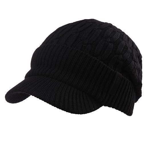 bd3d6f28085 SIGGI 37% Wool Knit Visor Beanie Mens Winter Hat Brim Cuff Newsboy Jeep Cap  Cold