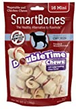 Cheap SmartBones DoubleTime Dog Treats (Chicken Bones, Mini 16 count (Pack of 2))