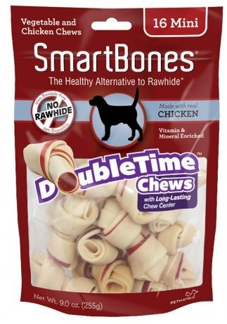 SmartBones DoubleTime Dog Treats Chicken Bones, Mini 16 count Pack of 2