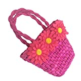 NorSway Straw Bags Children's Mini-key Coin Purse Woven Beach Bag (sunflower)