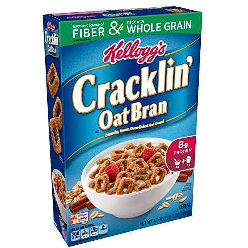 (Kellogg's Breakfast Cereal, Cracklin' Oat Bran, Excellent Source of Fiber, Made with Whole Grain, 17 oz Box(Pack of 10))