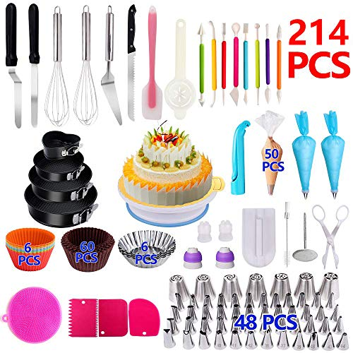 Cake Decorating Supplies,214 PCS Complete Baking Set with 4 Packs Springform Pan Sets,136 PCS Decorating Kits and 6 Muffin Cup Molds, Perfect Cake Baking Supplies for Beginners and Cake Lovers. (Supplier Sculpture Base)
