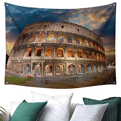 WilliamsDecor Italian Decor Tapestry for Living Room View of Colosseum Under Autumn Sunset in Rome Italian Landmark Historical Print Gift for Sheet/Blanket 60W x 51L Inch Blue Tan