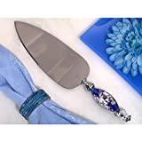 Dazzling Murano Art Blue and White Cake Server - 84 Pieces