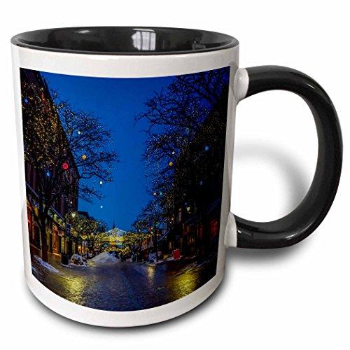 3D Rose 214797_4 Church Street Burlington Vermont Two Tone Ceramic Mug, 11 oz, Black (Church Street Burlington)