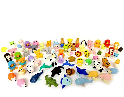 Kool KiDz 30 Assorted Erasers, Animal Collection Random Selected Eraser Puzzle Includes Unicorn