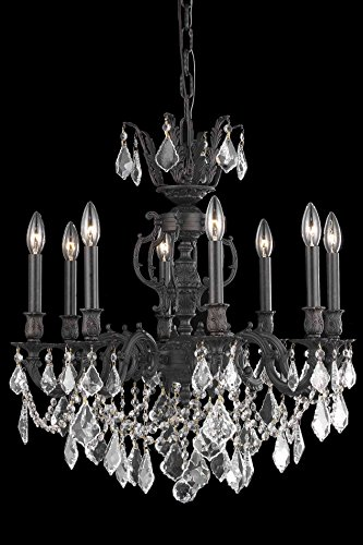 OmniLucent ARCD24DB-28524 Milan Collection Chandelier with 8 Lights and Clear Crystals 24