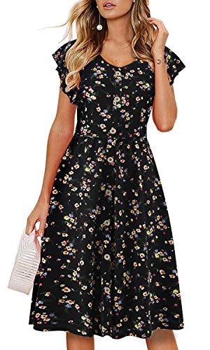 (Lamilus Women's Summer Casual Ruffle Sleeve V-Neck Button Down A-Line Swing Dress (M, L026-Floral-004))