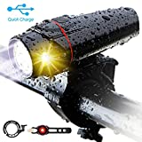 Bike Light Set,3rd-generation USB Rechargeable LED Headlight Bicycle Lights Front(Smart,Anti-glare,8h Working,Super Bright,Safer),Free Rear Tail Light and Alloy Bike Bell, Fits for Mountain Road Cycle